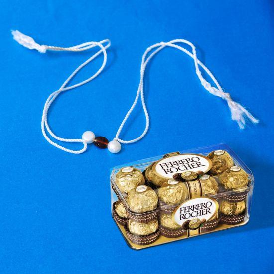 HAMPER XXI - Pearl Rakhi With Ferrero