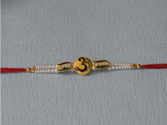 Golden Plated Designer Om Rakhi