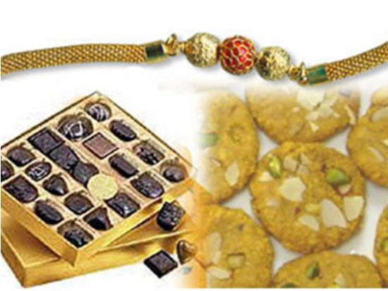 Sweets and gold plated rakhi.