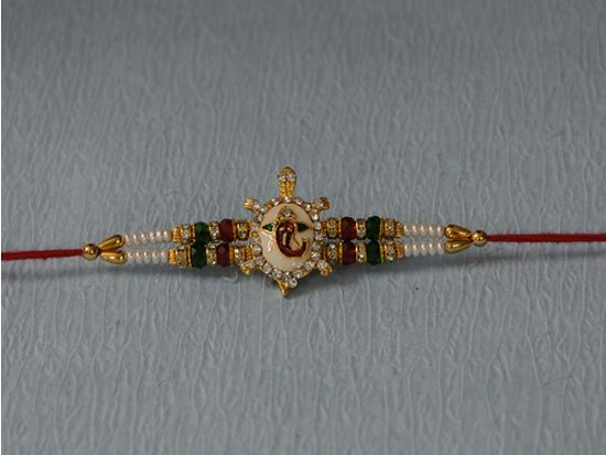 Ganeshji Rakhi with Stone and tortoise