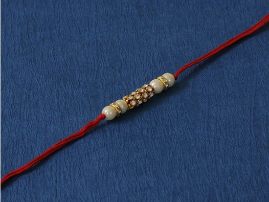 Cultured Pearl white moti  Rakhi.