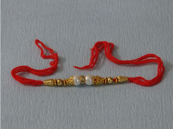 Cultured Pearl & Gold Plated Rakhi