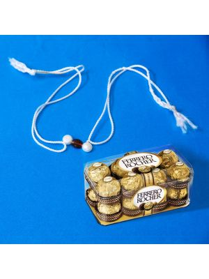 HAMPER XXI - Pearl Rakhi With Ferrero