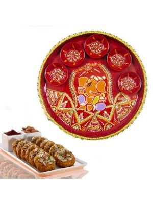 Diwali Puja Thali With Sweets