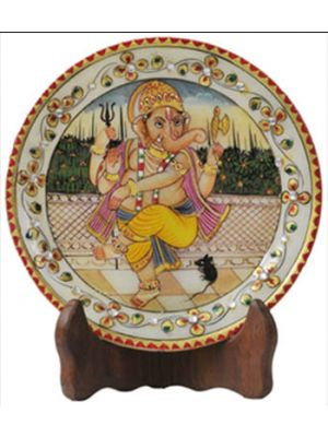 Ganesh Painting (22 Carat Gold) in Marble