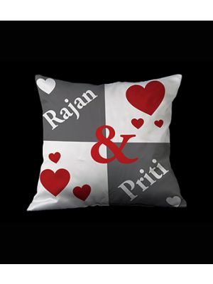 Names and heart pillow ( Grey & White )