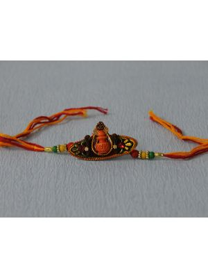 Zardosi Rakhi with Kalash (Oval shaped).