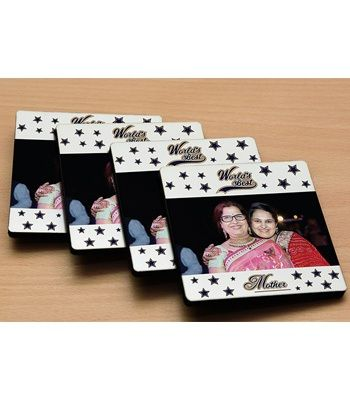Photo coasters for mom to Ahmedabad.