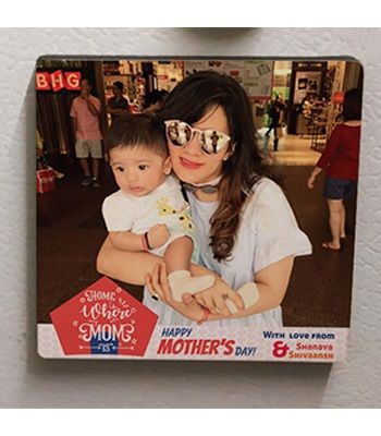 Square Photo Magnet. Mother & Child
