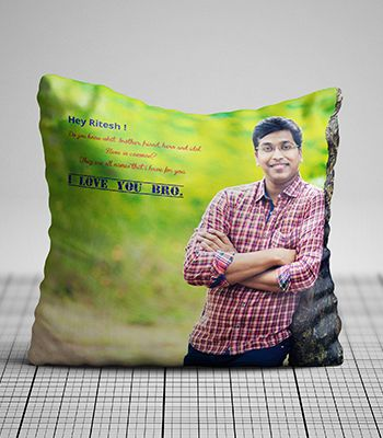 Personalized photo pillow ( Love You Bro )
