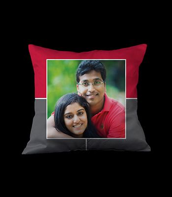 Personalized photo pillow (Red &Grey)