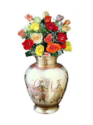 Roses in brass vase, Ahmedabad.