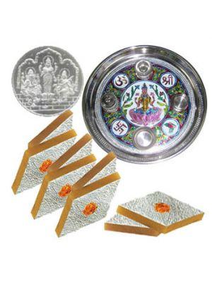 Bhai dooj hampers in Ahmedabad. sweets, coins , pooja thali