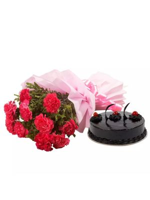 Dozen Carnations With Cake