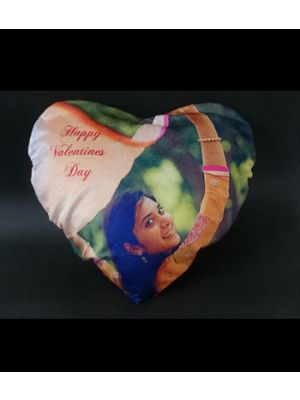 Heart shape velvet photo pillow with caption