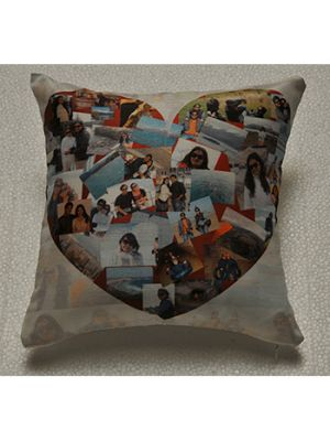 Heart shape collage in square cushion.