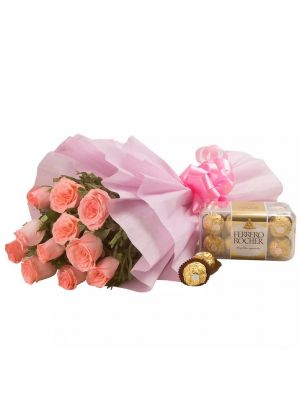 Pink Roses with Ferrero