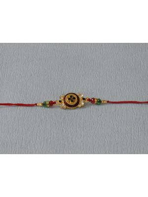 Round Green And Maroon kundan Rakhi