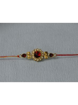 Round Kundan Rakhi With Stone Border
