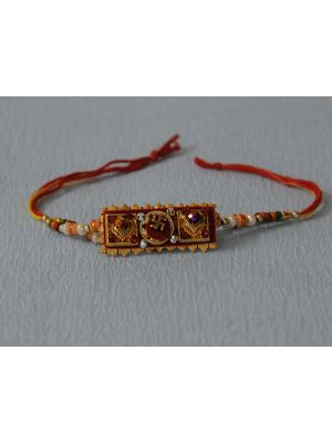 Rectangle Zardosi Rakhi With Velvet Base
