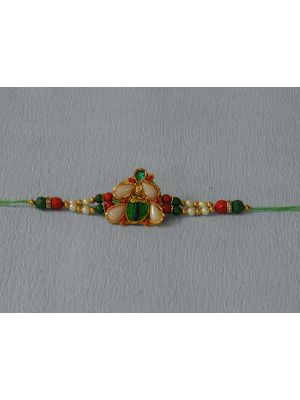 Zardosi Rakhi With Pan Shaped Pearls
