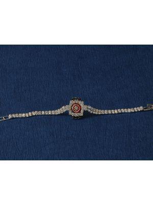 Om Rakhi With Stone Bracelet