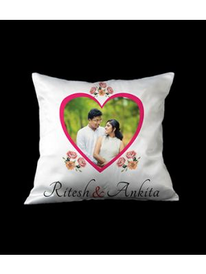 Square cushion with heart design