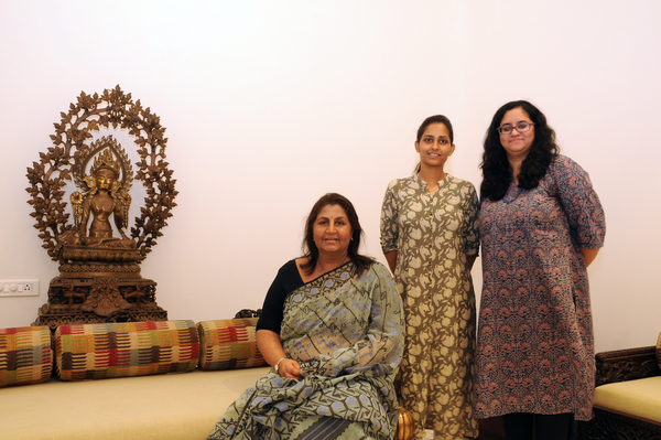 Jayshree Lalbhai with the curators, Bhasha Mewar and Niketa Kabra, at the Kasturbhai Lalbhai Museum
